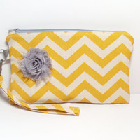 Chevron Wristlet - Yellow Gray - Shabby Gray Flower - Zippered Bag - Clutch Wallet - Holiday Gift