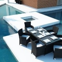 New Patio Outdoor Furniture Wicker Dining Set 7 Pc Modern Chic All Colors Best Deal Online