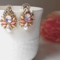 Coral pierced earrings, gift for her,