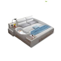 Modern Day Smart leather Bed with Speaker Table Lamp