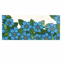 "Art Love Passion ""Blue Flower Field"" Beige Blue Luxe Rectangle Panel"