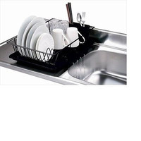 3-Piece Dish Drainer Set Black Tray Rack Dryer Drying Kitchen Storage Sink New