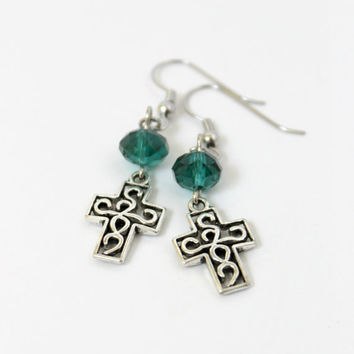 Simple Teal Green and Silver Beaded Cross Dangle Earrings - Handmade Christian Jewelry - Gift Idea - Ready to Ship