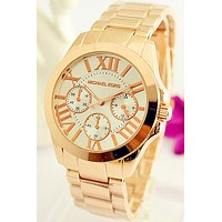 MK men and women tide brand exquisite fashion quartz watch F-Fushida-8899 Rose gold