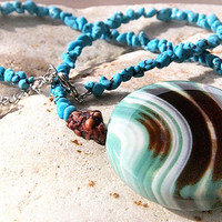 Giant Colorful Onyx. NOT so Petite Turquoise Necklace. Chocolate Brown Teal Aqua Wave. Exquisite Highly Polished Stone, made in Canada
