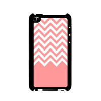 Coral White Chevron iPod Touch 4 Case - For iPod Touch 4 4G - Designer Plastic Snap on Case