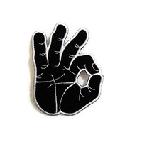 OK Hand Sign Black Color New Sew / Iron On Patch Embroidered Applique Size 6.6cm.x8.5cm.