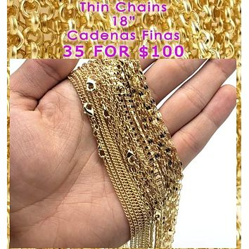 "35pcs Thin Gold Layered Chains 18"" ($2.85) Assorted Mixed Styles"