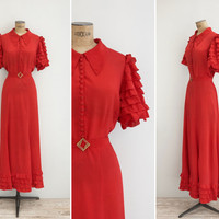 1930s Dress - Vintage 30s Red Gown - Verbena Dress