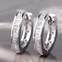 Men's Silver Plated Small Round Square Rhinestone Hoop Huggie Earrings US Flower