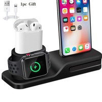 3 in 1 Charging Silicone  Dock Station For iPhone & Apple Watch & Airpods