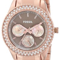Fossil Women's ES3502 Stella Rose Gold-Tone Stainless Steel Watch with Link Bracelet