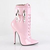 """Domina 1023 Baby Pink 6"""" Spike Heel 3 Interchangeable Ankle Strap Boot 6-16"""