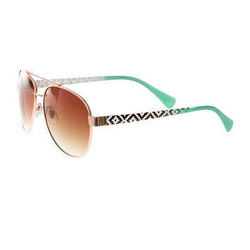 Aviator Sunglasses with Black and White Aztec Print and Mint Arms
