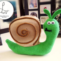 Handmade Plush Snail (small sized, felt and polyester plushie with googly eyes)
