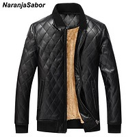NaranjaSabor EU Size Winter Men's Leather Jackets Thermal Thick PU Coats Casual Faux Fur Fleece Motorcycle Men Windbreakers N428