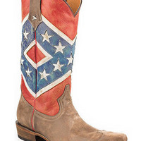 Roper Women's Rebel Flag Snip Toe Distressed Boots