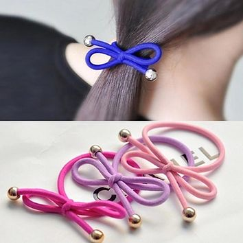 5Pcs/Bag Bowknot Gold Plated Beads Hair Holders Elastics 2015 New 12 Colours Women Rubber Bands  Girl's Tie Gum Hair Accessories