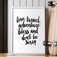 'Live Travel Adventure Bless' Typography Print