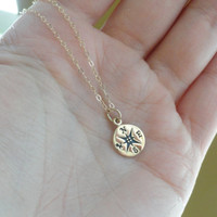 Vintage Stainless Steel Compass Pendants Gold Silver Necklace