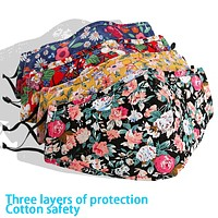 Cotton printed color masks can be inserted filter dustproof and haze masks summer breathable sunscreen mask floral
