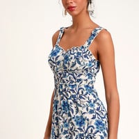 Mia Blue Print Sleeveless Skater Dress