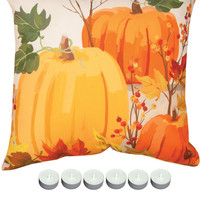 "Manual Woodworkers SLFPUM Fall Pumpkins Indoor Outdoor 18""x18"" Pillow with 6-Pack Tea Candles"