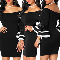 Off Shoulder Black Bodycon Dress with Flare Bow Sleeve