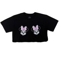 Women's Twisted Minnie Day Of The Dead Girl Skull Crop Top