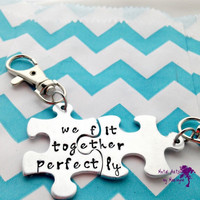 SALE Puzzle Piece Key chains Anniversary Gift Couple Key Chains Puzzle Jewelry BFF Keychains boyfriend Present Couple Jewelry Best Friend gi