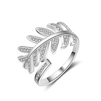 Women Feather Design Shiny Zircon 925 Sterling Silver Adjustable Size Ring