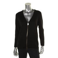 MICHAEL Michael Kors Womens Petites Ribbed Trim Zip Front Cardigan Sweater