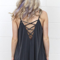 Strappy Open Back Modal Tank {Charcoal}