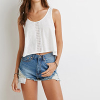 Crochet Trim Slub Knit Tank