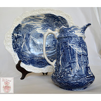 Blue English Transferware Ironstone Embossed Handled Bowl and Pitcher Rural Scenery