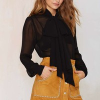Nasty Gal Marianne Pussy Bow Blouse - Black