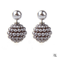 2 pairs/set fashion Jewelry Bijoux colorful Colors Big Size Double side Pearl stud Earrings For Women = 1668756036