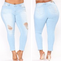 PLUS SIZE Jeans Women High Waist Skinny Pencil Blue Denim Pants women Zipper Stretch washed Jeans women 4XL 5XL 6XL 7XL big hip