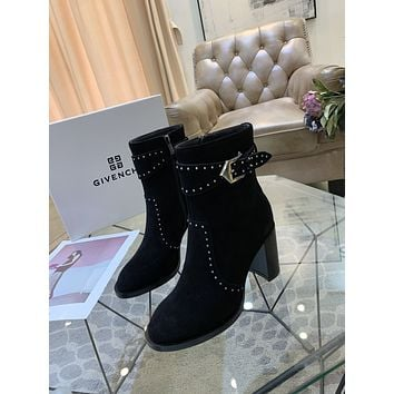 Givenchy  Trending Women's Black Leather Side Zip Lace-up Ankle Boots Shoes High Boots