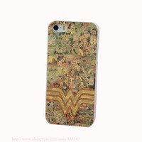 Wonder Woman Comics Pictorial Hard White Cover Case for iPhone 4 4s 5 5s 5c 6 6s Protect Phone Cases