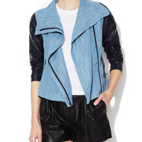 Chambray Jacket with Faux Leather Sleeve