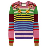 Indie Designs Appliquéd Striped Wool and Cashmere-blend Sweater