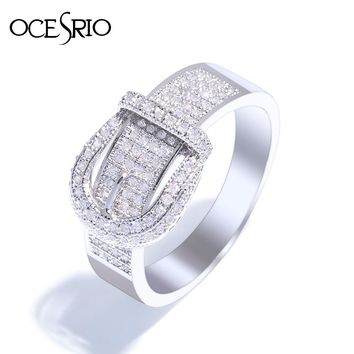 OCESRIO Trendy Belt Buckle Full Zirconia Paved Female Ring With Stone Silver Wedding Rings For Women Jewelry Men anillos rig-f53