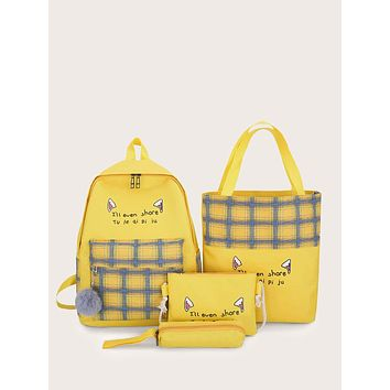 4pcs Pom Pom Decor Plaid Panel Backpack With Pencil Case