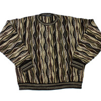Vintage 90s Coogi Style Sweater in Brown/Tan Made in USA Mens Size XL