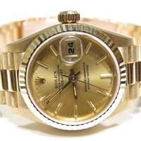 Authentic Rolex Ladies 26mm 18K Yellow Solid Gold DateJust 69178 President Watch