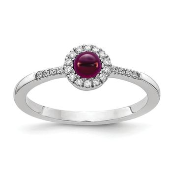 14k White Gold Diamond Halo And Rhodolite Garnet Chabochon Ring