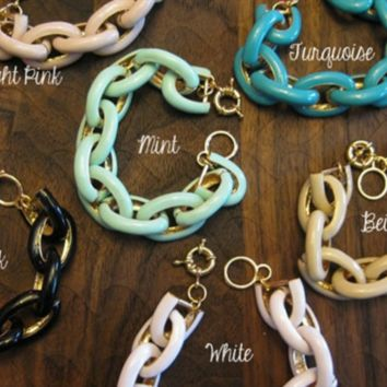 Inspired Enamel Link Bracelets -- 6 Colors to Choose From