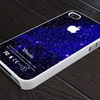 Blue Angel Galaxy Nebula With Apple Logo - Print On Hard Cover - For iPhone 4, 4S, and iPhone 5 Case - Black, Clear, and White