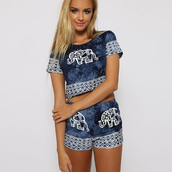 Elephant Printed Short Sleeve Top and Pant